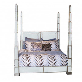 Silver Mirror - 86 Inch Queen Size Four Post Bed - Contemporary Modern Style