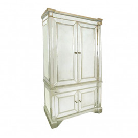 Silver Mirror - 76t X 45w X 23d Armoire or TV Cabinet - Contemporary Modern Style