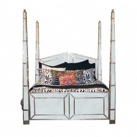 Silver Mirror - 86 Inch Queen Size Four Post Pediment Bed - Contemporary Modern Style