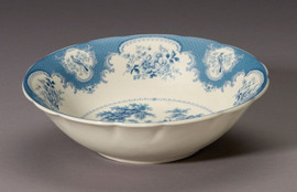 Blue and White Decorative Transferware Porcelain Bowl, 10 Inch Diameter
