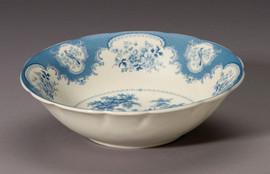 Blue and White Decorative Transferware Porcelain Bowl, 10 Inch Diameter