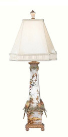 Luxe Life Hand Painted Chinoiserie - Tabletop 37 inch Lamp - Metallic Silver Leaf, Birds and Nature Scene
