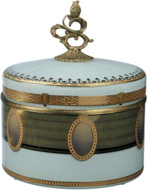 """White with Gold Finely Finished Porcelain and Gilt Bronze Ormolu Round Decorative Box 7.75"""" - Luxe Life Brand"""