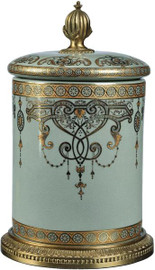 Luxe Life Celadon Flourish Finely Finished Porcelain and Parcel Gilt Bronze Ormolu, 10.5 Inch Decorative Covered Box