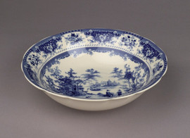Blue and White Decorative Transferware Porcelain Bowl, 12 Inch Diameter