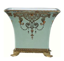 Luxe Life Celadon Flourish Finely Finished Porcelain and Gilt Bronze Ormolu - Rectangular 9 Inch Centerpiece Planter