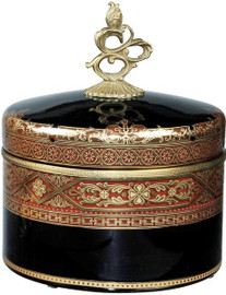 "Ebony Black Glass and Gilt Bronze Ormolu Covered Box Decorative - Luxe Life -9.5"""