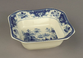 Blue and White Decorative Transferware Porcelain Bowl, 9 Inch Square
