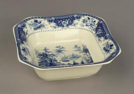 Blue and White Decorative Transferware Porcelain Bowl, 9 Inch Square