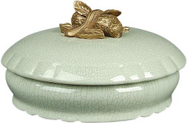 """Glossy White Crackle Finely Finished Porcelain and Gilt Bronze Ormolu Round Decorative Box 8"""""""