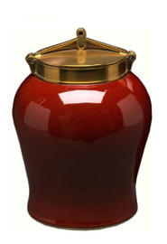 Luxe Life Glossy Red Finely Finished Porcelain and Brass, 14 Inch Ginger Jar