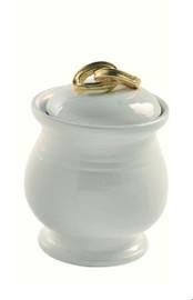 Luxe Life Glazed White Finely Finished Italian Ceramic, 8 Inch Decorative Jar