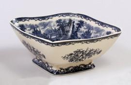 Blue and White Decorative Transferware Porcelain, Serpentine Square Bowl, 10.75w X 10.75d X 5t