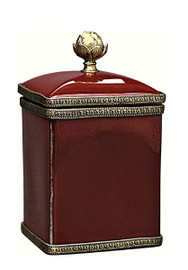 Luxe Life Glossy Red Finely Finished Porcelain and Gilt Bronze Ormolu, 6 Inch Decorative Box
