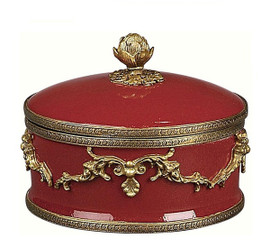 Luxe Life Glossy Red Finely Finished Porcelain and Gilt Bronze Ormolu, 6 Inch Round Decorative Box