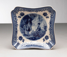 Blue and White Decorative Transferware Porcelain Cut Curner Square Bowl, 10w X 10d X 2t