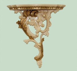 Classic Elements, Rococo Louis XV, 16t x 14.5w x 5.5d Serpentine Left Facing Shelf Wall Bracket Sconce, Custom Finish