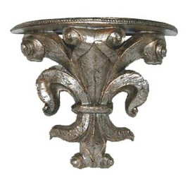 Classic Elements, Fleur de Lis 11.75t x 10w x 5d Demilune Shelf Wall Bracket Sconce, Custom Finish