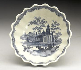 Blue and White Decorative Transferware Porcelain Bowl, 8 Inch Diameter