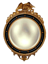 """Classic Elements, Federal Regency 31""""t x 22""""w Round Reproduction Convex Glass Mirror, Custom Finish, 5431"""