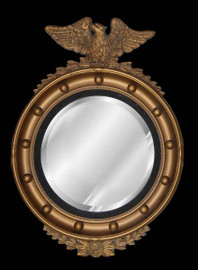 """Classic Elements, Federal Regency 25.5""""t x 18""""w Round Reproduction Beveled Glass Mirror, Custom Finish, 5430"""