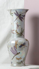 Finely Finished Porcelain, 23 Inch Tabletop or Mantel Vase, Glazed Iridescent Finish