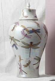Finely Finished Porcelain, 26 Inch Oversized Dragonfly Jar, Glazed Iridescent Finish