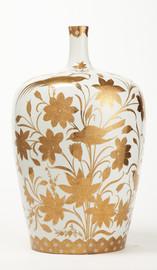 Finely Finished Porcelain, 24 Inch Tabletop Vase, Metallic Gold Nature Scene