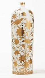 Finely Finished Porcelain, 25 Inch Tabletop or Mantel Vase, Metallic Gold Nature Scene
