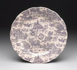 Blue and White Decorative Transferware Porcelain Plate, 14 Inch Diameter
