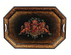 Luxe Life - Royal Crest Lion Theme, Display or Serving Tray, Cut Corner Rectangular Shape 30L X 21W