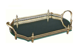 """Luxe Life Solid Brass and Mirror, Octagonal 20"""" Gallery Display Tray, 5404"""