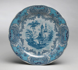 .Blue and White Decorative Transferware Porcelain Plate | Castle | Country Castle | Toile Design - 10w X 10d X 1t