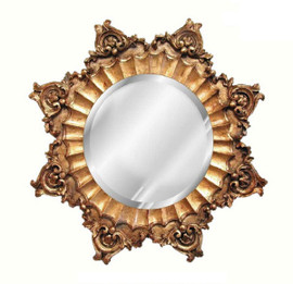 """Classic Elements, Round 35""""t x 35""""w Eight Point Bevel Glass Accent Mirror, Custom Finish, 5400"""