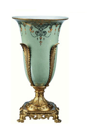 Luxe Life Celadon Flourish Finely Finished Porcelain and Gilt Bronze Ormolu, 16 Inch Tabletop or Mantel Vase
