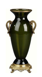 Luxe Life Finely Finished Glass and Gilt Bronze Ormolu, 13 Inch Tabletop or Mantel Vase