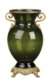 Luxe Life Finely Finished Glass and Gilt Bronze Ormolu, 9 Inch Tabletop or Mantel Vase