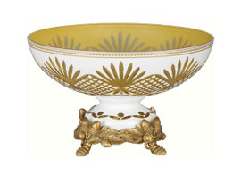 Luxe Life Finely Finished Cut Crystal Glass and Gilt Bronze Ormolu, 12 Inch Pedestal Bowl
