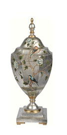 Luxe Life Hand Painted 28 Inch Covered Cassolette Urn for the Tabletop or Mantel, Metallic Silver Nature Scene