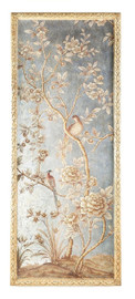 Luxe Life Hand Painted 51 Inch Right Facing Wall Panel Art, Metallic Silver Leaf Nature Design