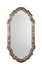 """Luxe Life Hand Painted 43"""" Oblong Beveled Glass Mirror - Metallic Silver Nature Design, 5363"""