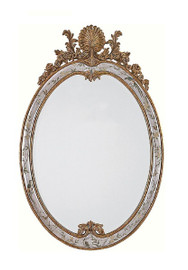 """Luxe Life Hand Painted 36"""" Oval Rocaille Mirror - Metallic Silver Nature Design, 5362"""