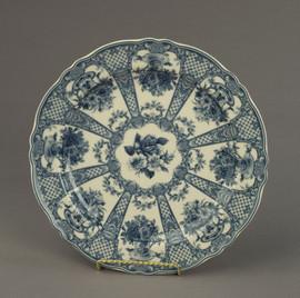 Dark Blue and White Decorative Transferware Porcelain Plate | Teacup Bouquet | Floral Pattern | d'Elegance Crosshatch - 1t x 10w x 10d