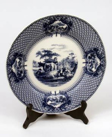 Blue and White Decorative Transferware Porcelain Plate, 10 Inch Diameter 7036 AAA