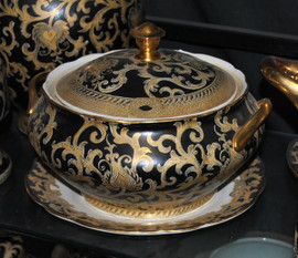 Ebony Black and Gold Lotus Scroll - Luxury Handmade Reproduction Chinese Porcelain - 12 Inch Decorative Tureen Centerpiece - Undulated Edge Style 781