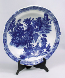 Blue and White Decorative Transferware Porcelain Plate, 13.5 Inch Diameter 7029 AAA