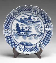 Blue and White Decorative Transferware Porcelain Plate, 18 Inch Diameter