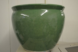 Celadon Green Decorator Crackle, Luxury Handmade Chinese Porcelain, 14 Inch Fish Bowl Planter, Style 35