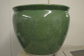 Celadon Green Decorator Crackle, Luxury Handmade Chinese Porcelain, 14 Inch Fish Bowl | Fishbowl Planter, Style 35