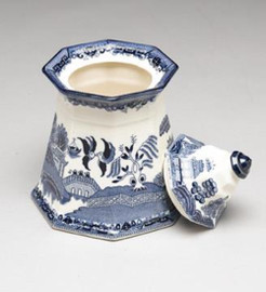 Blue and White Transferware Porcelain Jar, 8.5 Inches Tall 7023 AAA